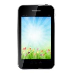 A ecologic mobile phone concept vector image