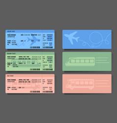 Airplane bus train tickets concept design vector