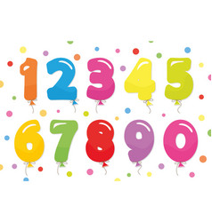 balloon coloder numbers set for birthday and vector image vector image