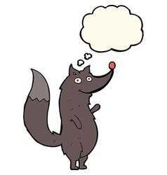 Cartoon waving wolf with thought bubble vector