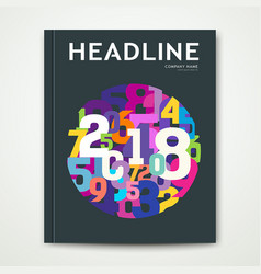 Cover annual report number 2018 colorful number vector