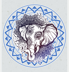 Decorative elephant with tribal mandala ornament vector