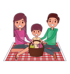 Family sitting on blanket picnic with meal basket vector