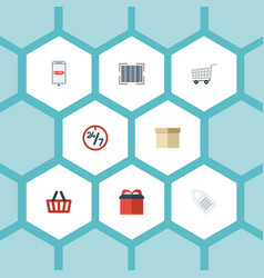 flat icons qr bag support and other vector image vector image