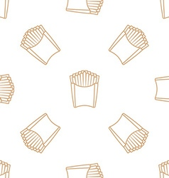 french fries outline seamless pattern vector image vector image
