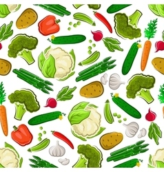 Fresh farm vegetarian food seamless background vector image