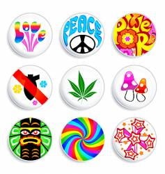 hippie badges vector image