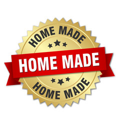 home made 3d gold badge with red ribbon vector image vector image