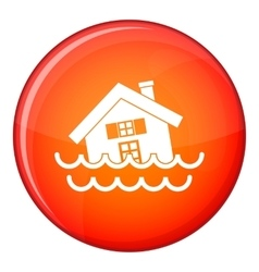 House sinking in a water icon flat style vector