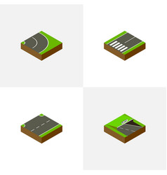 Isometric road set of asphalt underground vector
