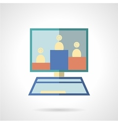 Online learning flat color icon vector image vector image