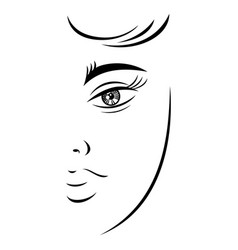 Outline drawing young female face vector
