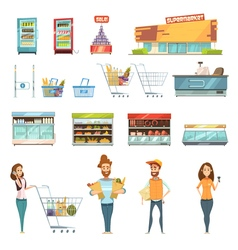 People In Supermarket Cartoon Icons Set vector image