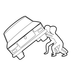 People overturned car icon outline vector
