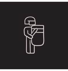 Policeman with shield and baton sketch icon vector image vector image