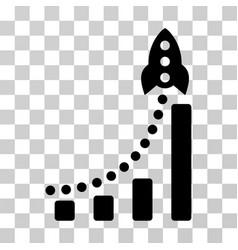 Rocket success bar chart icon vector