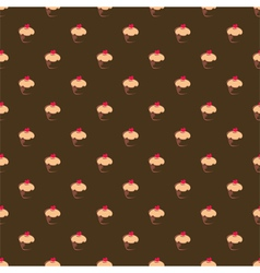 Seamless chocolate brown cupcakes background vector image vector image