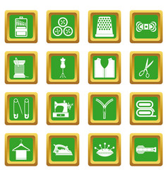 Sewing icons set green vector