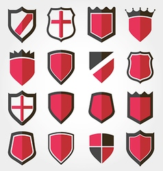 shield set icon vector image vector image