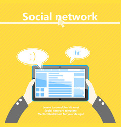 social network tablet computer in hand flat vector image