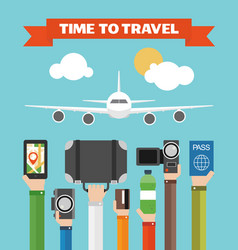 Time to travel flat background with hand vector