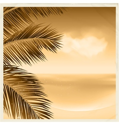 vintage sepia tropical scene vector image