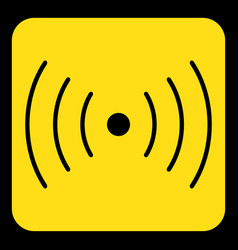 yellow black sign - sound vibration symbol icon vector image vector image