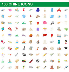 100 chine icons set cartoon style vector
