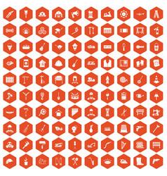 100 tools icons hexagon orange vector