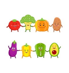 Funny vegetables cartoon characters vector