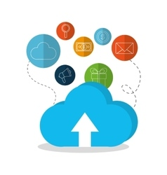 Cloud computing and digital marketing design vector