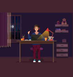 A girl sitting at the laptop and working at night vector