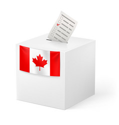 Election in canada ballot box with voicing paper vector