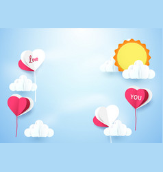 Heart shape balloons with sun background vector