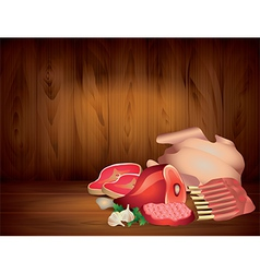 Meat wood background vector
