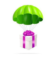 Green parachute with a gift box vector