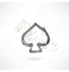 Spades cards grunge icon vector