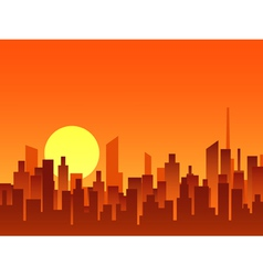 Big city bright sunrise vector image