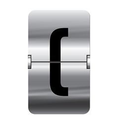 Alphabet silver flipboard letters brackets begin vector
