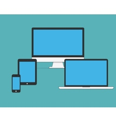 Set of flat modern technology devices vector