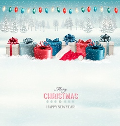 Winter christmas background with presents and a vector