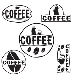 Set of vintage retro coffee labels vector
