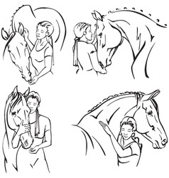Woman and horse vector