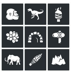 Stone age and dawn of the dinosaurs icons vector