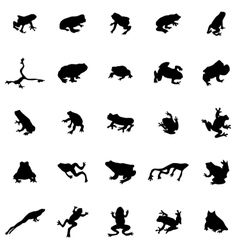 Frog silhouettes set vector