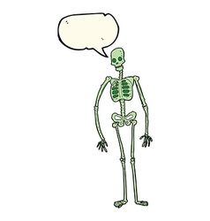 Cartoon spooky skeleton with speech bubble vector