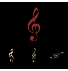 Violine clef icon set vector