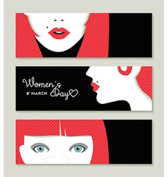 Happy womens day banner set with retro girl face vector