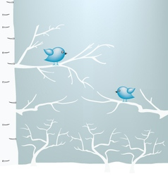 Winter and birds on branch vector