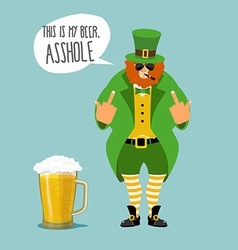Angry leprechaun with beard bad leprechaun shows vector